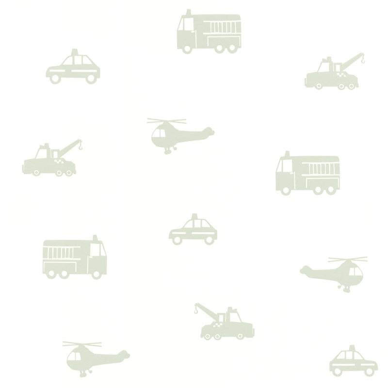 Vliestapete 'Fahrzeuge' weiß/softmint