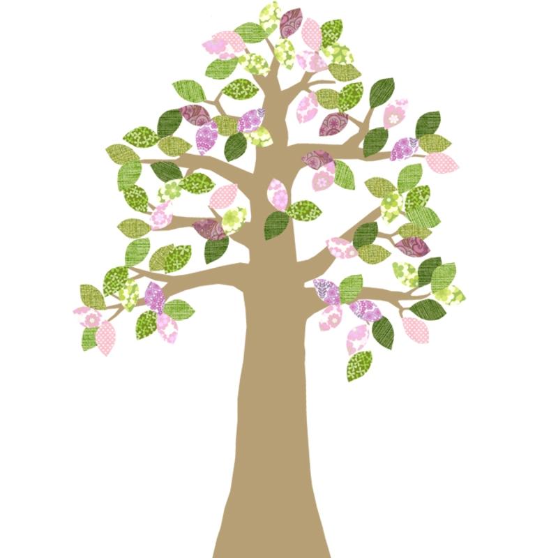 Tapetenbaum gold/rosa/grün 230cm