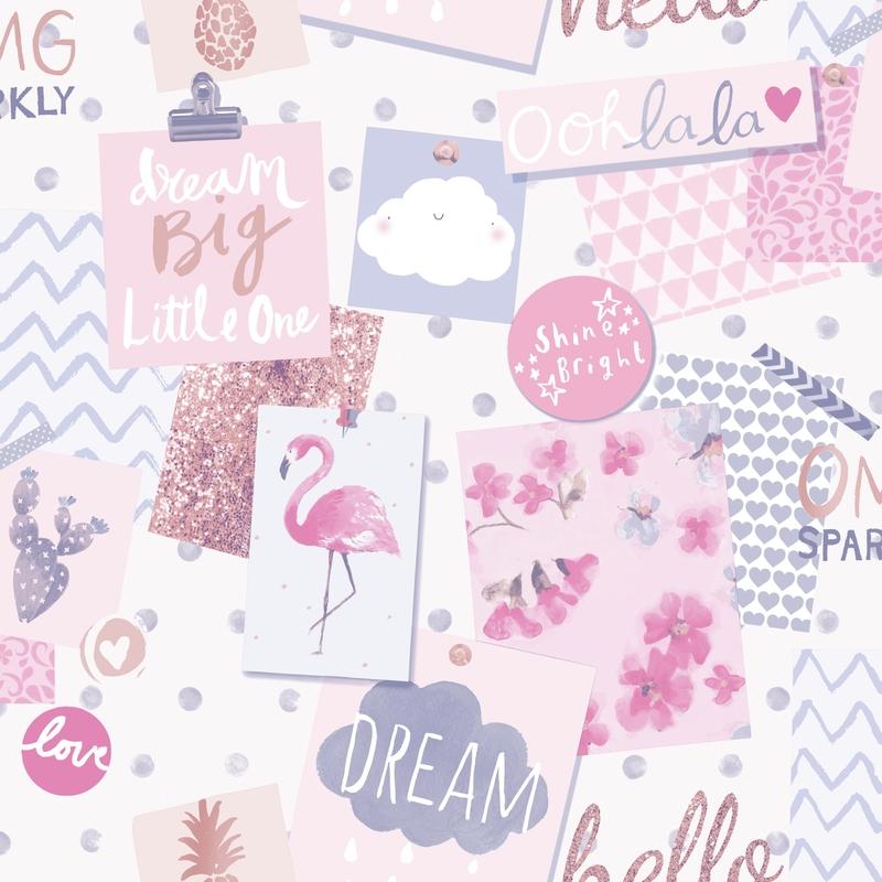 Vliestapete 'Collage' lila/rosa