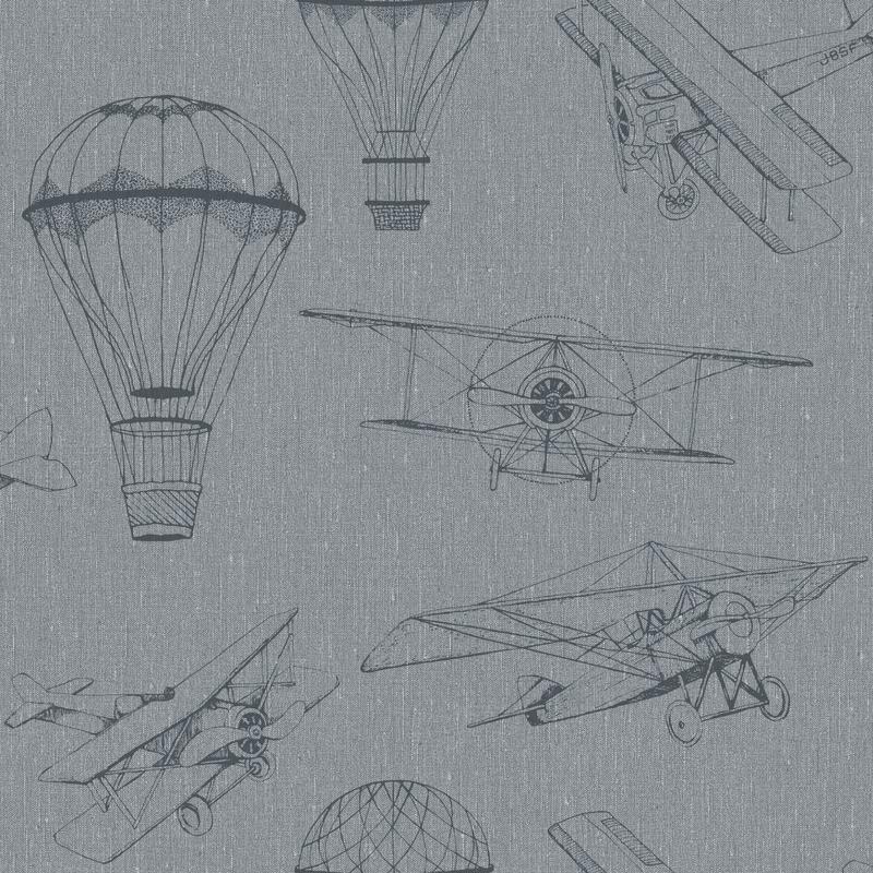 Tapete 'Newbie' Flugzeuge & Ballons blau