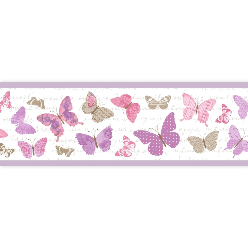 Bordüre 'Pretty Lili' Schmetterlinge flieder