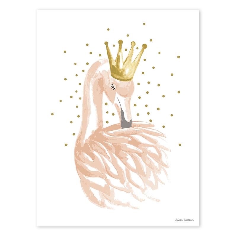 Poster 'Flamingo' gold/puder 30x40cm
