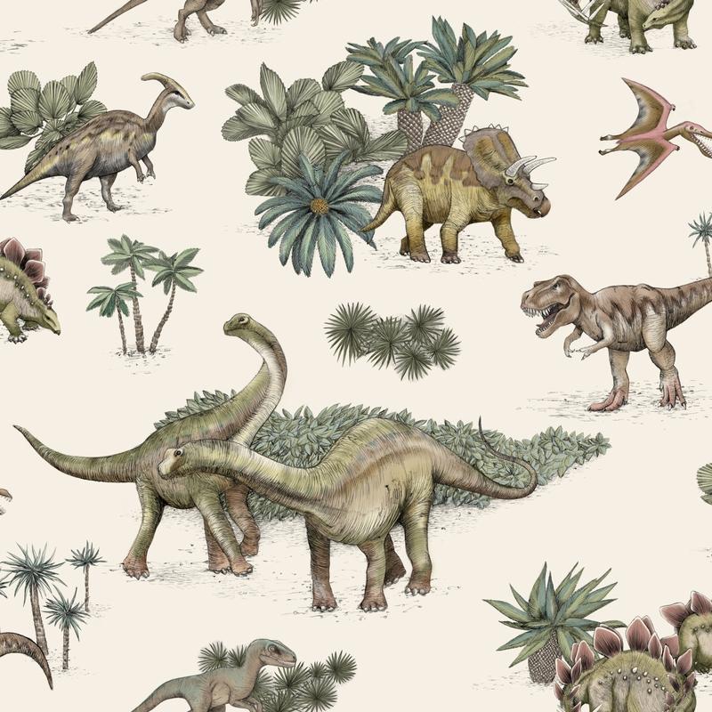 Fototapete 'Dinos' creme/grün 180x270cm