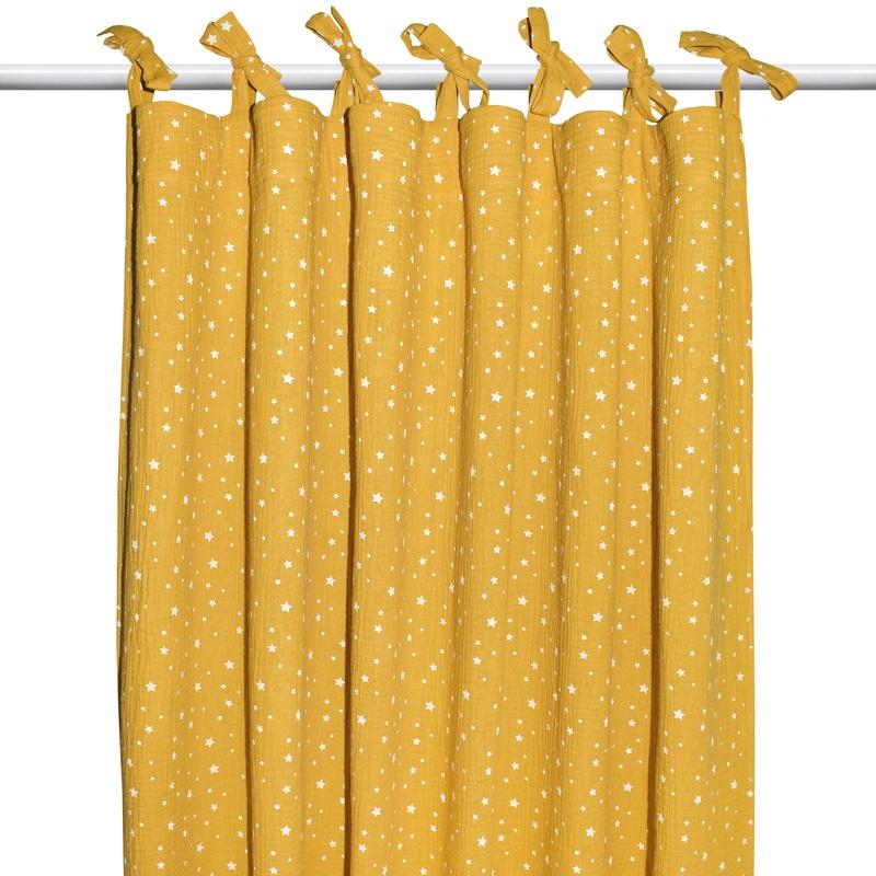 Vorhang 'Sterne' Musselin senfgelb H 240cm