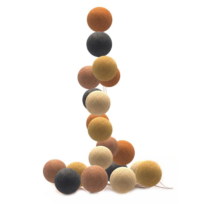 Lichterkette Cotton Balls LED senfgelb/cognac