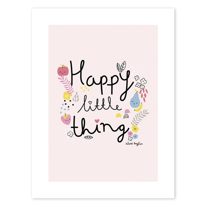 Poster 'Happy little thing' rosa 30x40cm