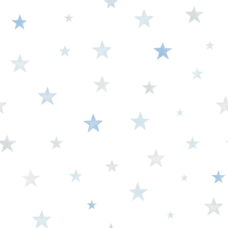 Vliestapete 'Sterne' grau/blau