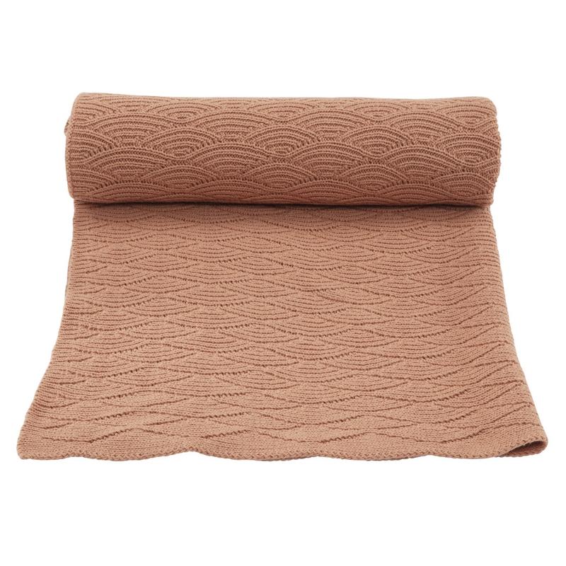 Strickdecke Baumwolle rost ca. 70x100cm