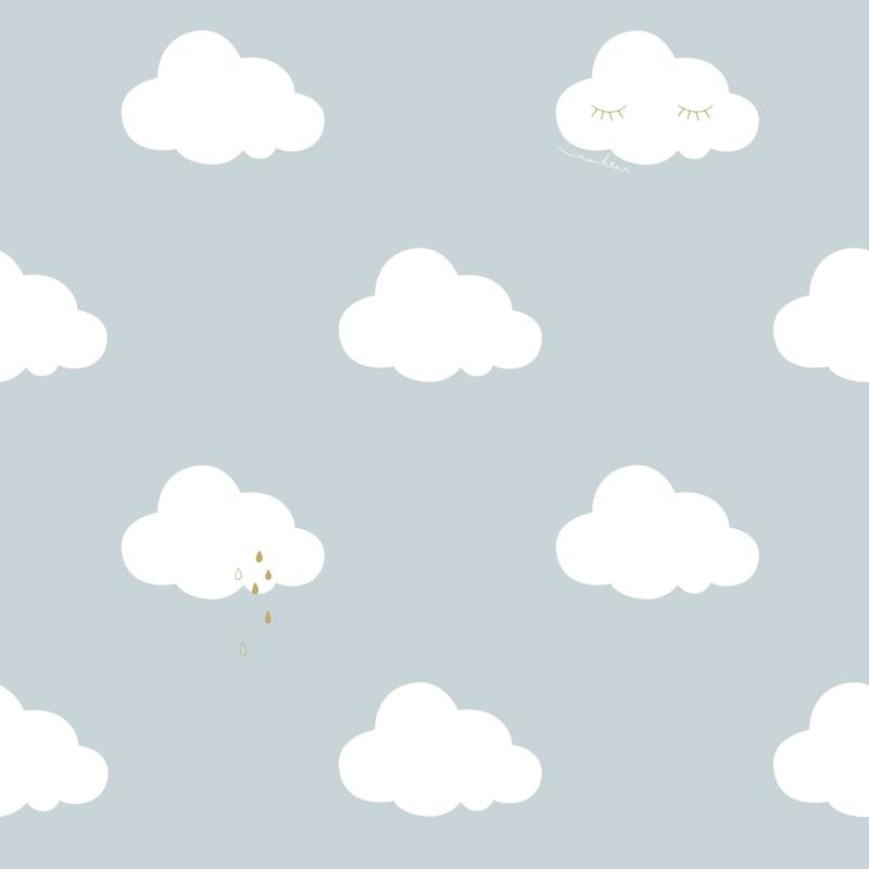 Tapete 'Wolken' rauchblau/gold/weiß