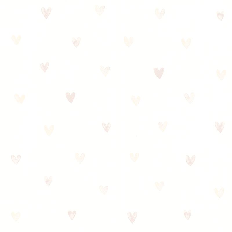Vliestapete 'Herzen' weiß/perlmutt