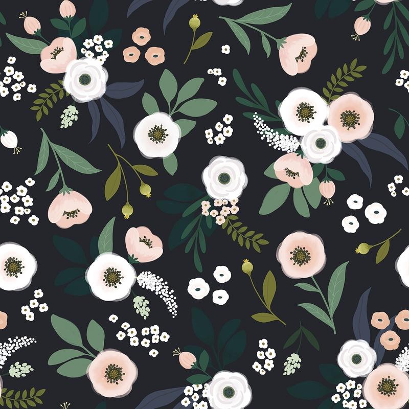 Vliestapete 'Wonderland' Blumen schwarz/grün