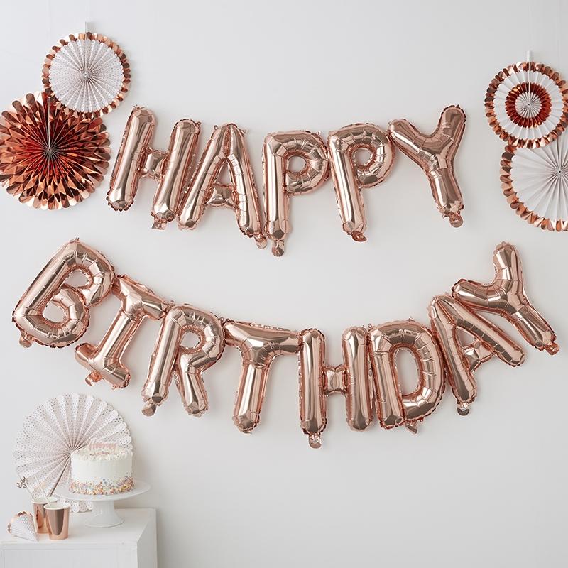 Luftballongirlande 'Happy Birthday' roségold