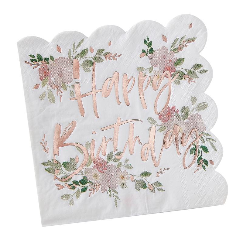Servietten 'Happy Birthday' roségold 16 St.