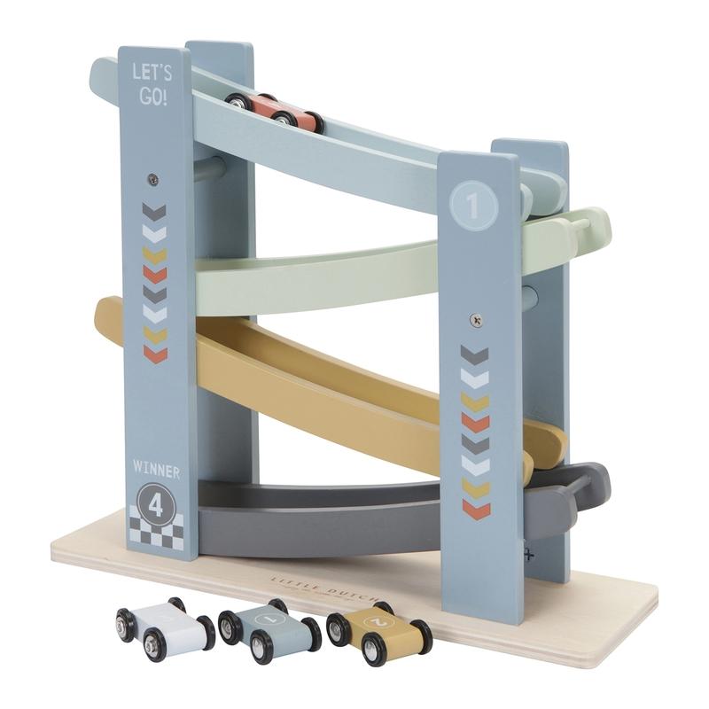 Rennbahn aus Holz blau/senf ab 18 Monaten