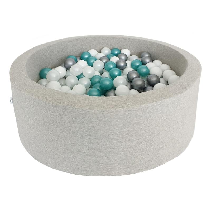Bällebad grau 200 Bälle Metallic mint/silber