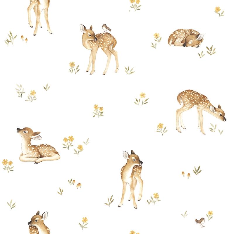 Vliestapete 'Oh Deer' Rehlein weiß/beige