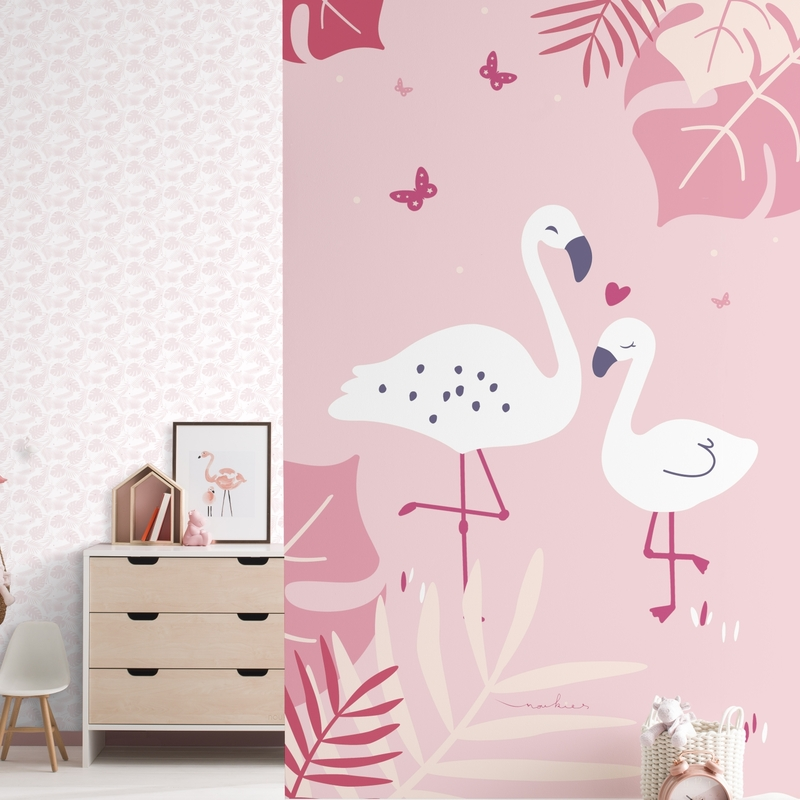 Fototapete 'Flamingos' rosa 180x280cm