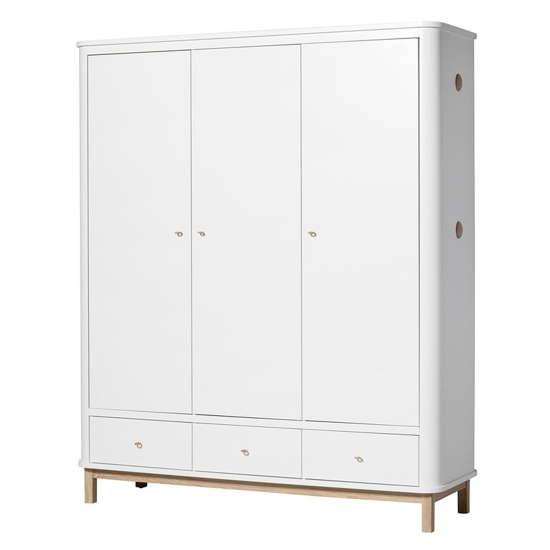 Kleiderschrank 'Wood' Eiche/weiß 3-türig