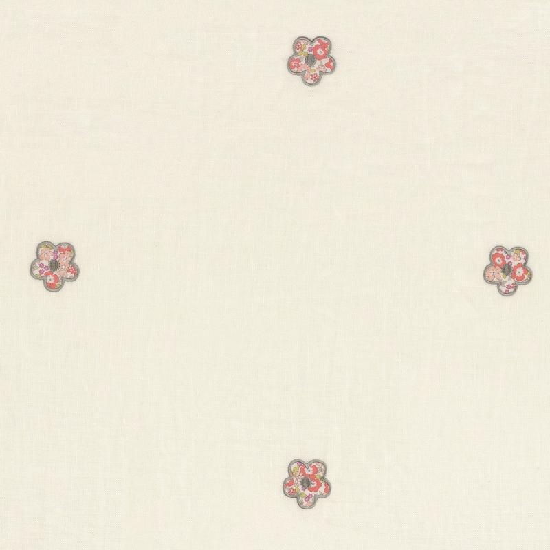 Stoff mit Stickerei 'Rose & Nino' Blumen