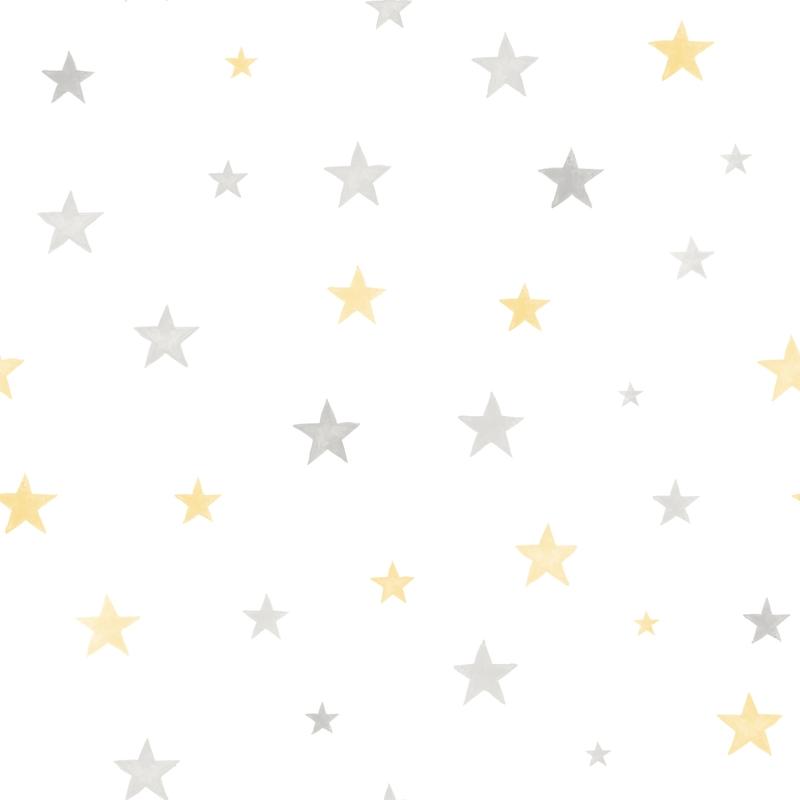 Vliestapete 'Sterne' grau/gelb