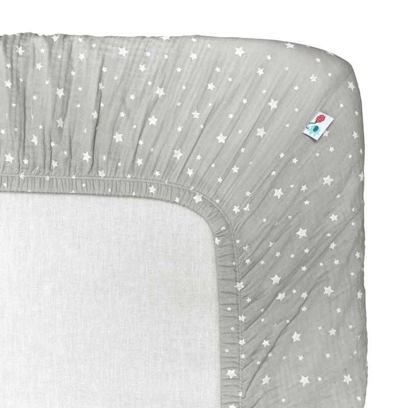 Spannbettlaken 'Sterne' Musselin hellgrau 70x140cm
