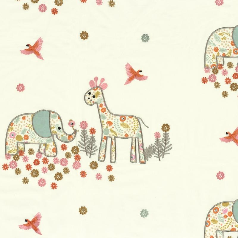 Stoff mit Stickerei 'Rose & Nino' Safari rosa