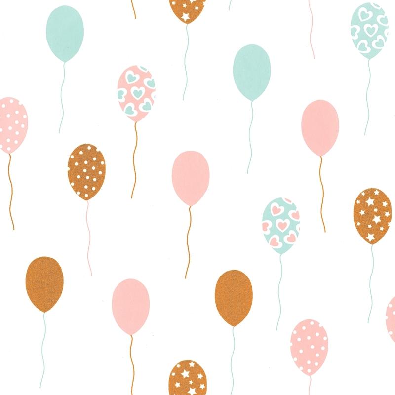 Tapete Luftballons mint/gold 'Girl Power'