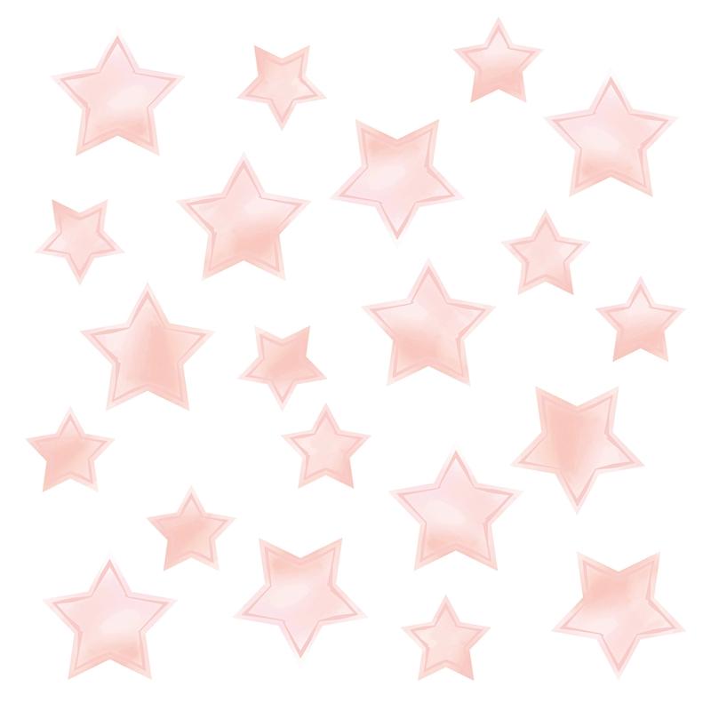 Wandsticker 'Sterne' Aquarell puderrosa 21-tlg.