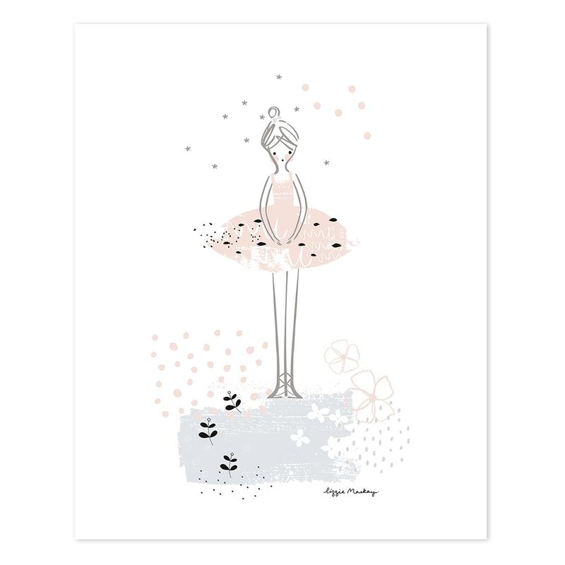 Poster 'Ballerina' rosa/schwarz 40x50cm