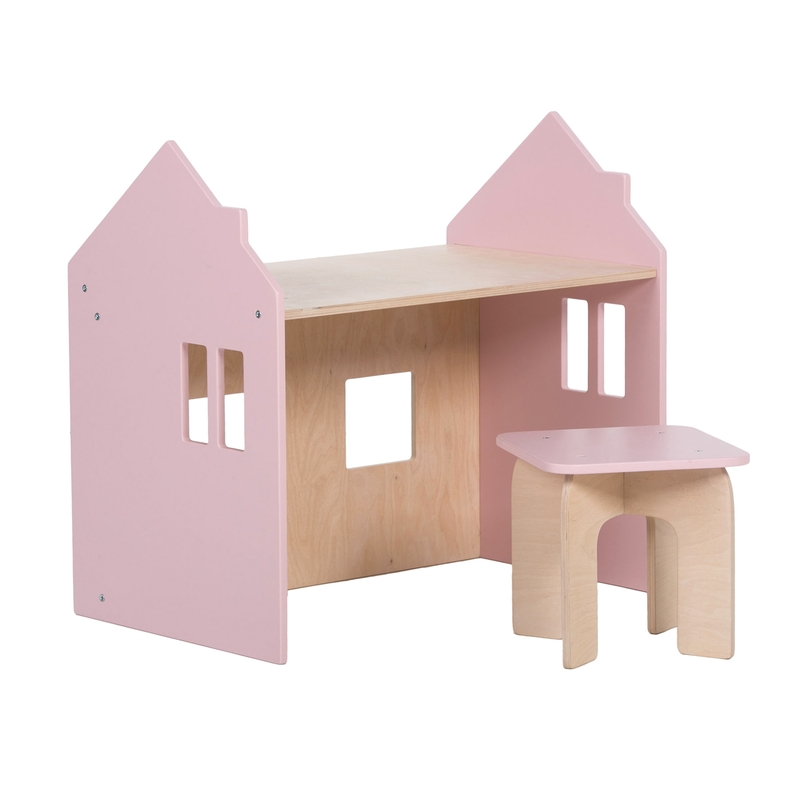 Tisch mit Hocker 'Puppenhaus' natur/rosa