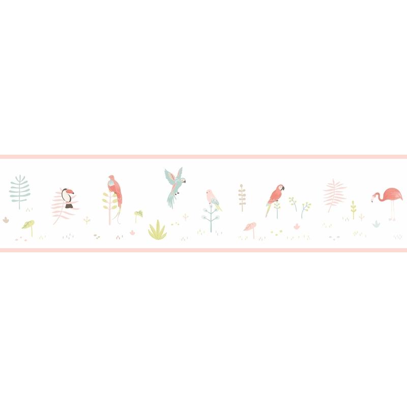 Bordüre 'Happy Dreams' Vögel rosa/grün