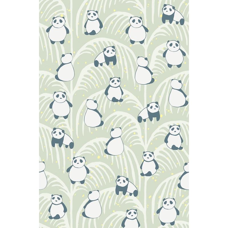 Fototapete 'Mini Me' Panda mint 93x280cm