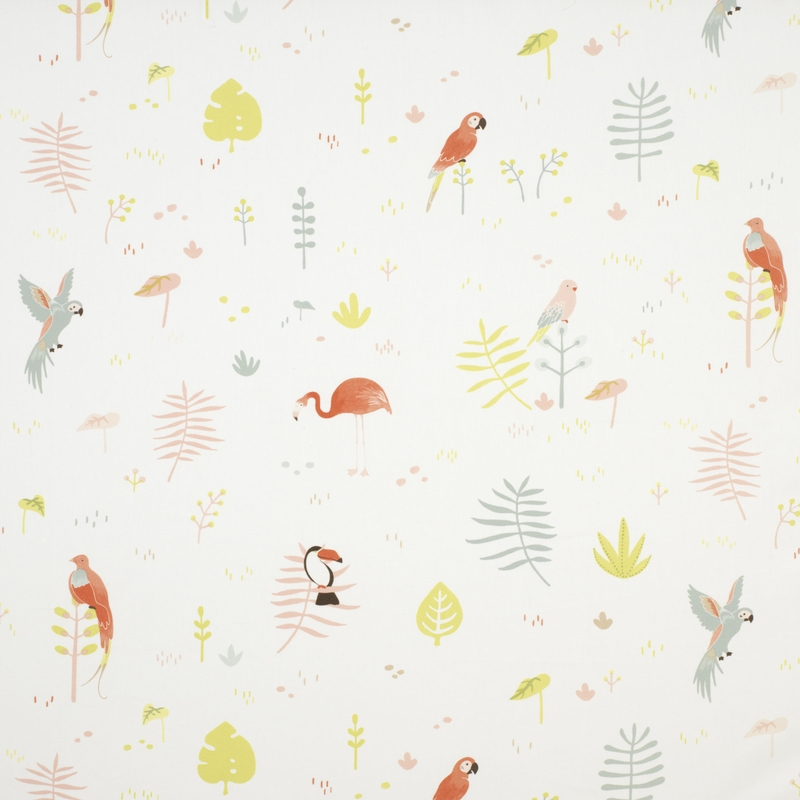 Stoff 'Happy Dreams' Vögel rosa/mint