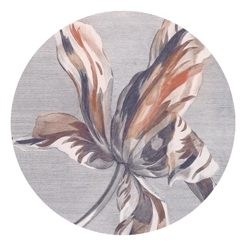 XL-Wandsticker 'Blüte' rund grau/braun