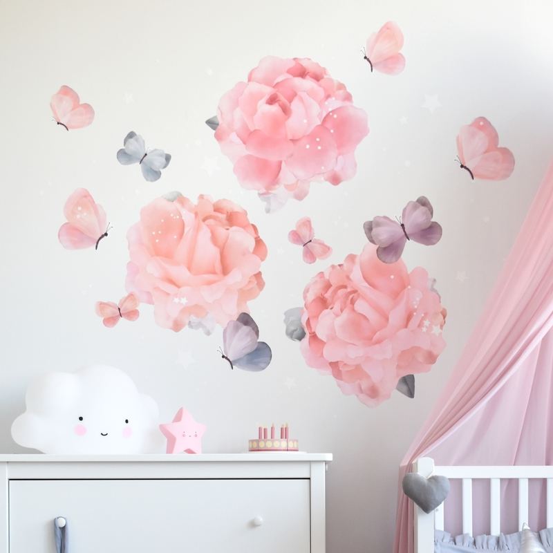 Stoff-Wandsticker 'Blumengarten' rosa 3er Set