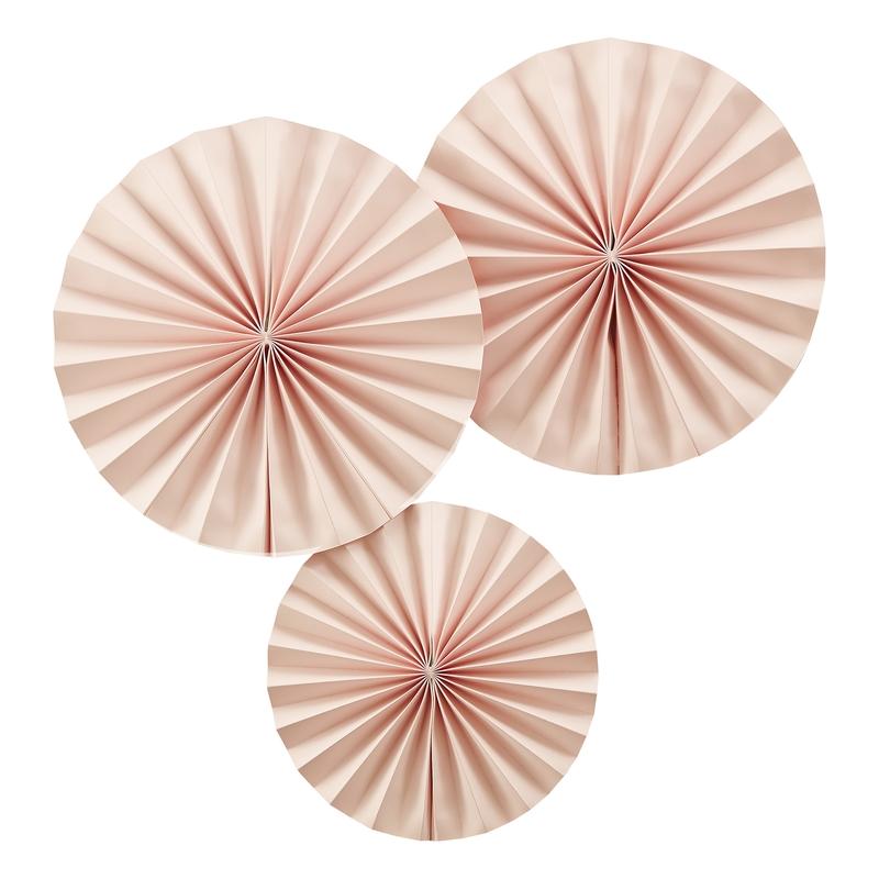 Dekofächer aus Papier puderrosa 3er Set