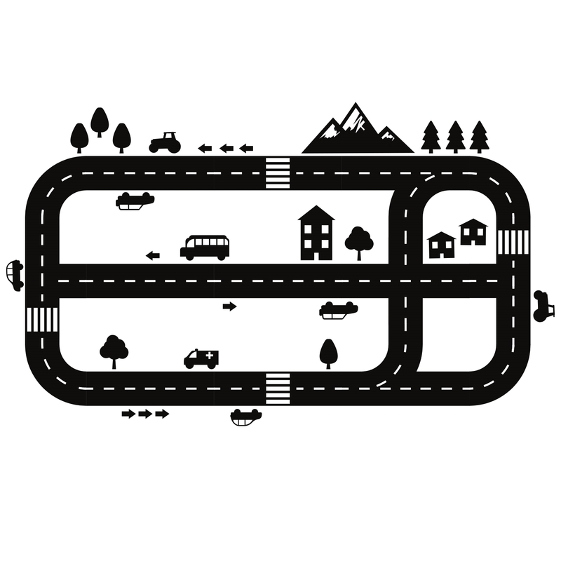 XL Bodensticker 'Straßen' schwarz 145x70cm