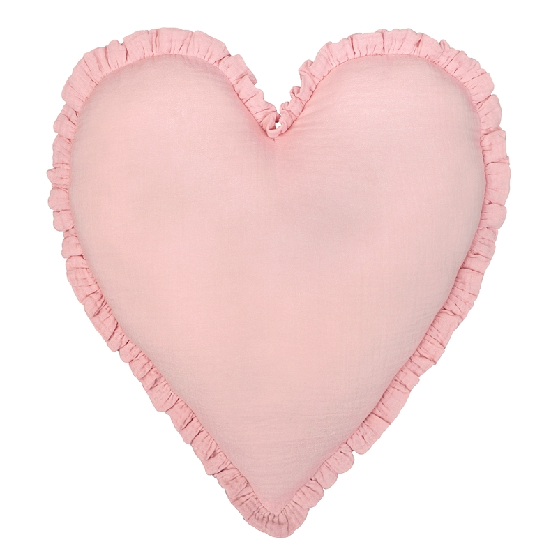 Kissen 'Herz' mit Rüschen puderrosa 40cm