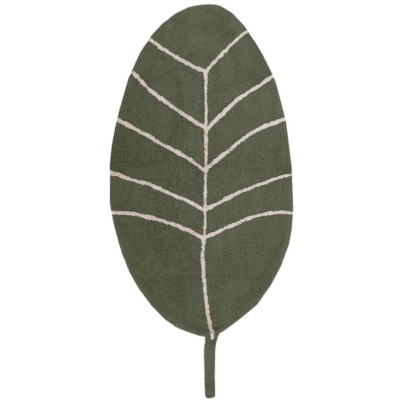 Baumwollteppich 'Blatt' grün 70x140cm