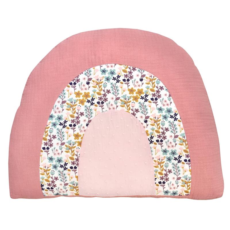 Regenbogen-Kissen 'Blumen' rosa 40cm