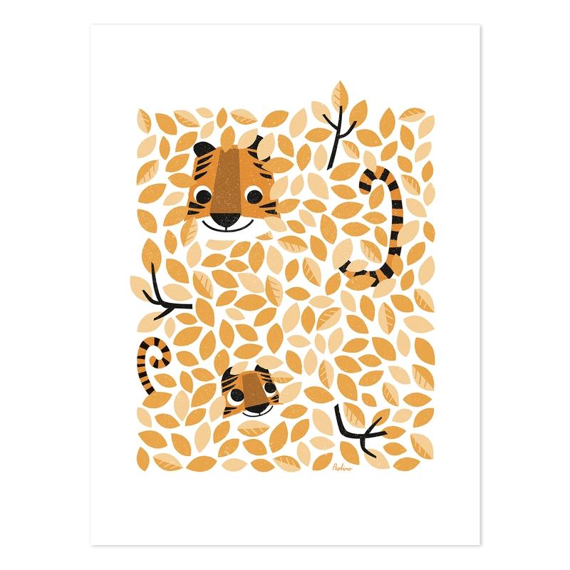 Poster 'Versteckt' Tiger orange 30x40cm