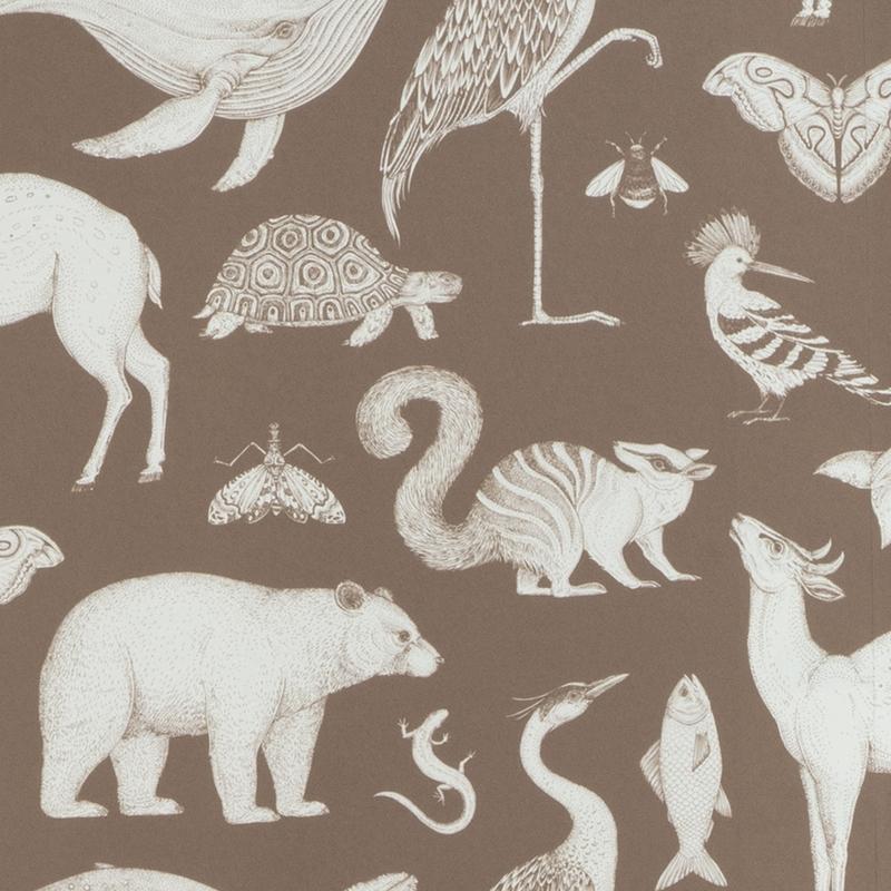 Tapete 'Wilde Tiere' karamell/weiß