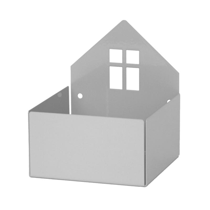Metallregal & Wandbox 'Haus' grau 11x13cm