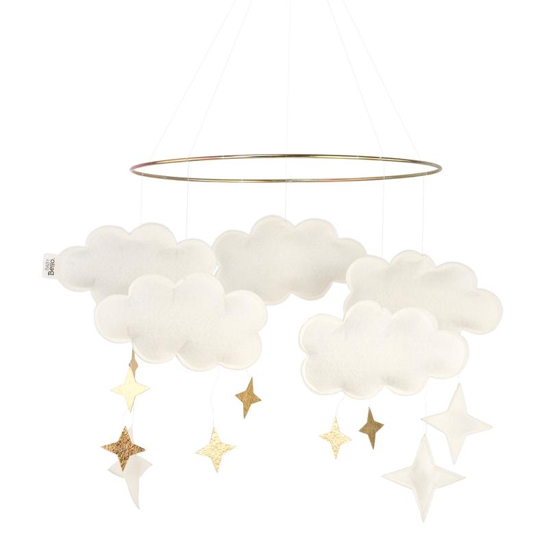 Mobile 'Wolken' Filz perlmutt/gold