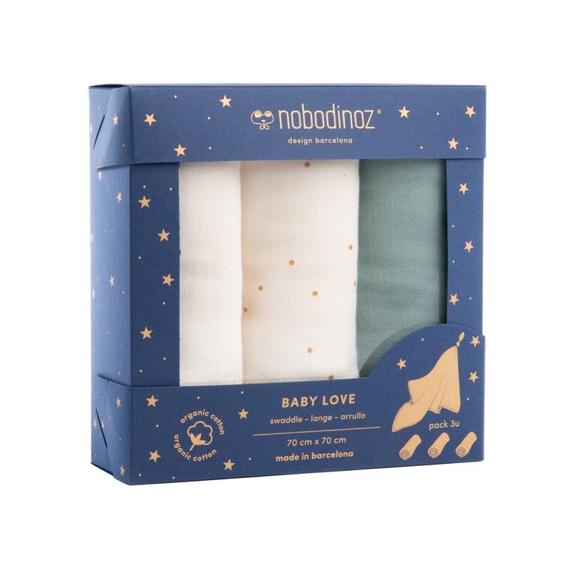 Mulltücher 'Sweet Dots' creme/jade 70x70cm