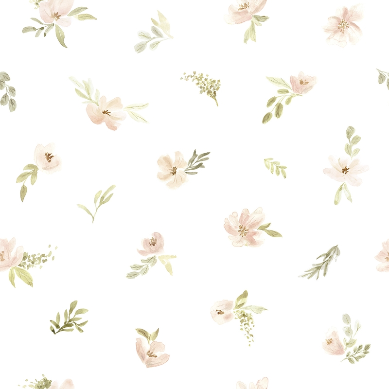 Vliestapete 'Aquarell Blumen' weiß/puderrosa