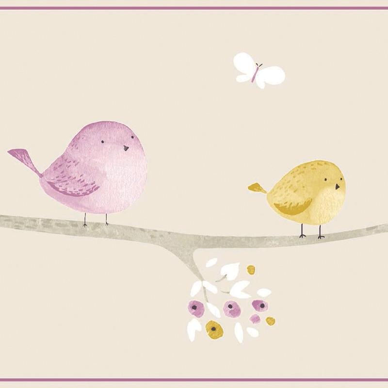Bordüre 'My Little World' Vögelchen' beige/flieder