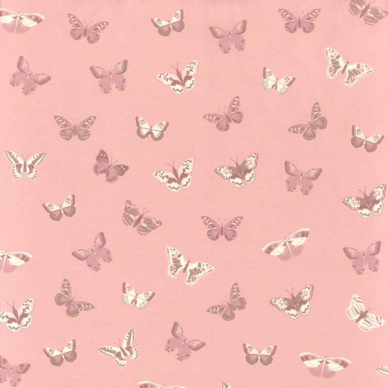 Stoff Schmetterlinge rosa/lila 'Girl Power'
