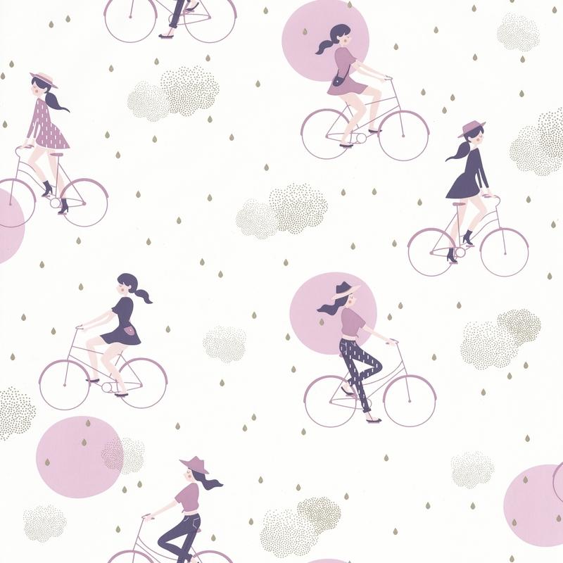 Tapete Fahrrad lila/gold 'Girl Power'