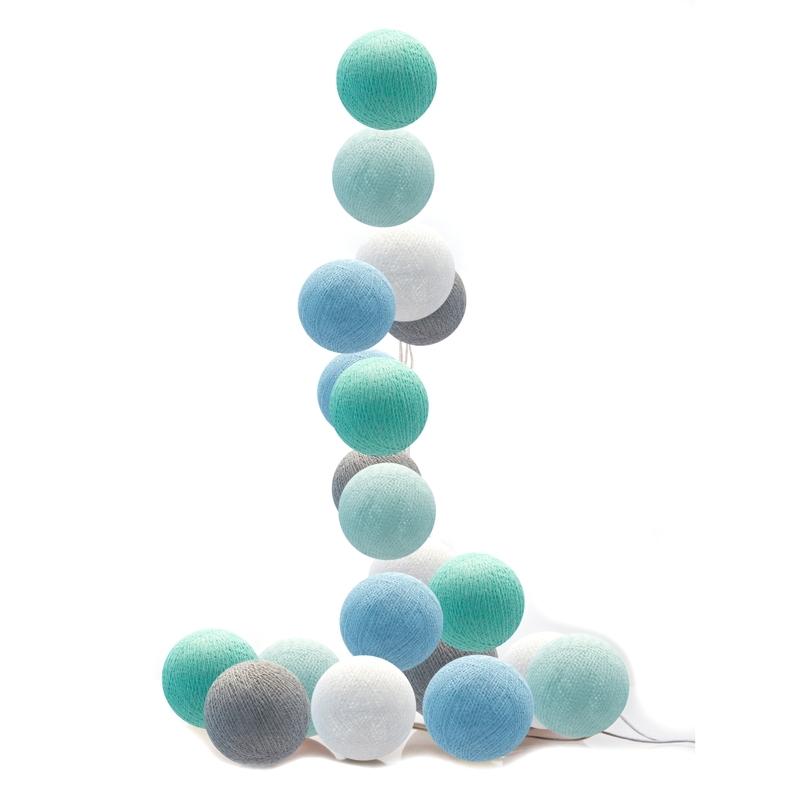 Lichterkette Cotton Balls LED hellblau/mint